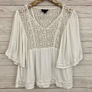 Romeo & Juliet Couture crochet lace babydoll top
